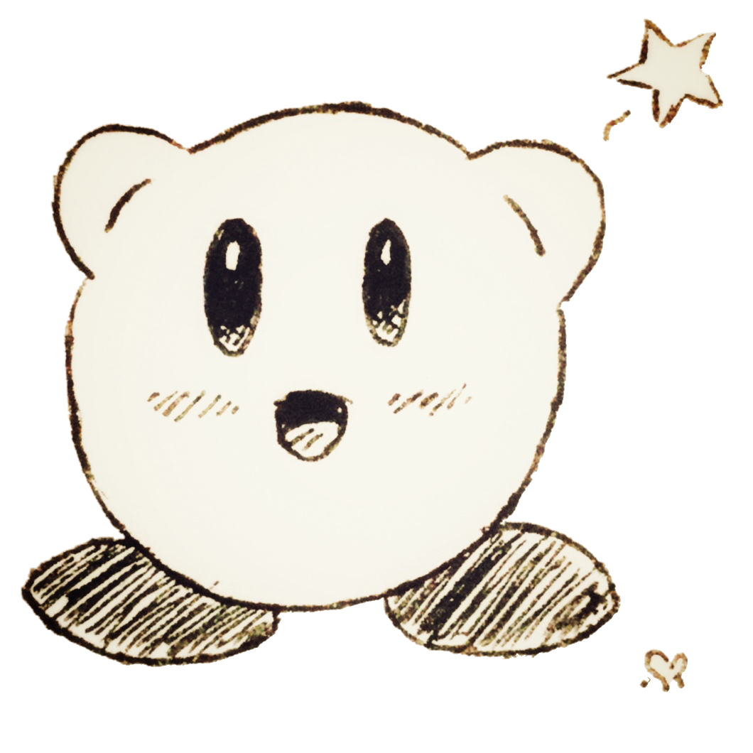 a cute black­‑and­‑white doodle of Kirby with a star on a transparent background